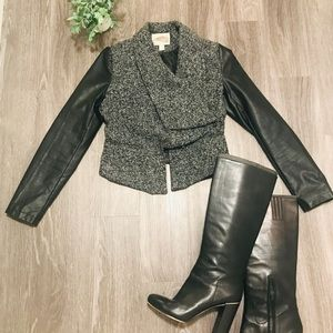 Forever 21 Tweed Cropped Jacket with Vegan Leather